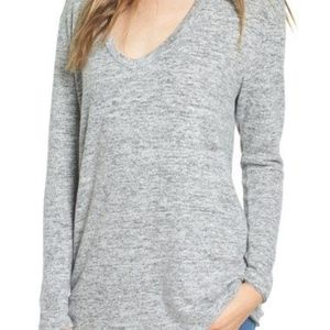 bp - Gray Cozy V-Neck Sweater